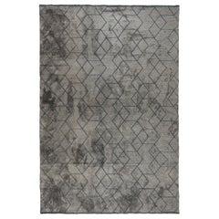 Medium Gray Tonal Dark Gray Pattern Contemporary Design Luxury Soft Rug, Pair