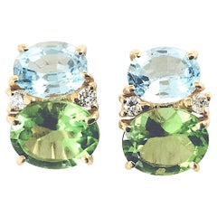 Medium Gum Drop Earrings with Blue Topaz, Peridot and Diamonds