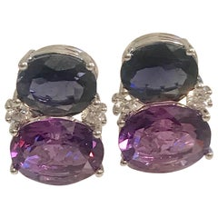 Medium Gum Drop Earrings with Iolite and Amethyst and Diamonds