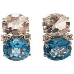 Medium GUM DROP Earrings with Rock Crystal and Blue Topaz and Diamonds