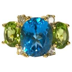 Medium Gum Drop Ring with Blue Topaz and Peridot Diamonds