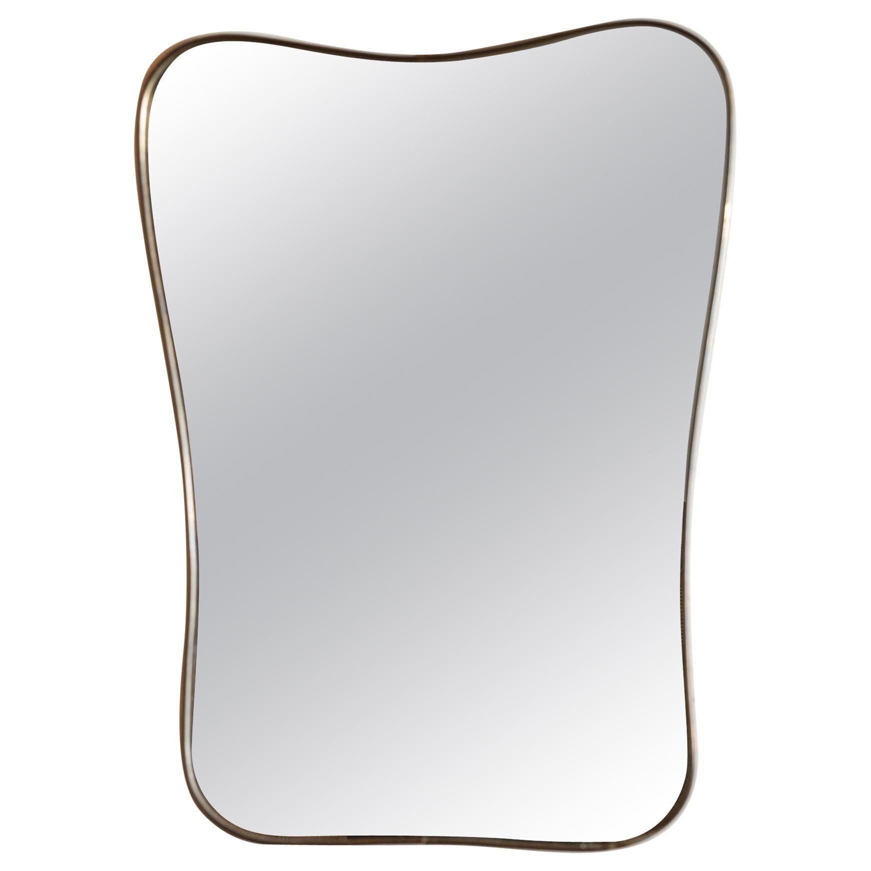 Medium Italian Brass Mirror with Lovely Patina, 1950s