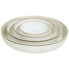Medium Ivory Glazed Porcelain Hermit Bowl with Rustic Rim