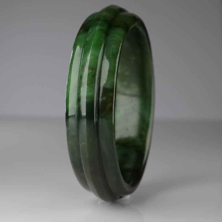 Artisan Jade Bangle Medium-Large Wyoming Nephrite Jade For Sale