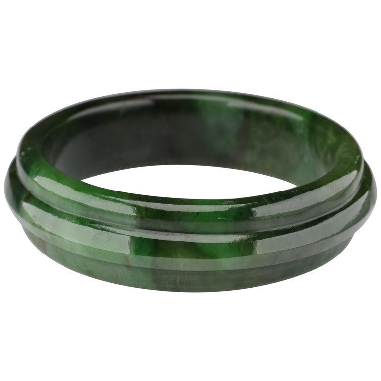 Jade Bangle Medium-Large Wyoming Nephrite Jade For Sale