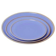Medium Lavender Glazed Porcelain Hermit Plate with Rustic Rim