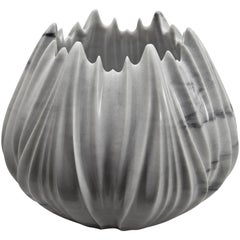 Light Blue Grey Marble Vase by Zaha Hadid in Covelano Bluette Marble