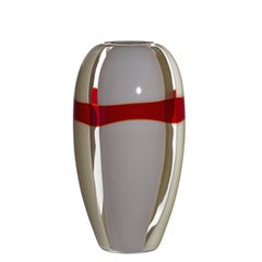 Medium Ogiva Vase in Grey, White, and Red by Carlo Moretti