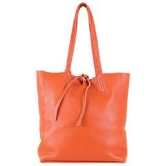 Medium Orange Italian Leather Tote