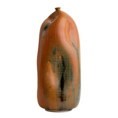 Medium Orange Rust Handmade California Ceramic, Interior Sculpture Wabi Sabi