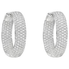 Medium Pavé Diamond Hoop Earrings '2.60 Carat'