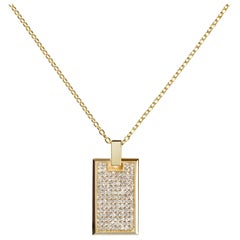 Medium Pave Diamond Tag Necklace in 18k Yellow Gold