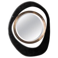 "Medium ""Peacock"" Mirror in Black Pen Shell, Bronze-Patina Brass by R&Y Augousti"