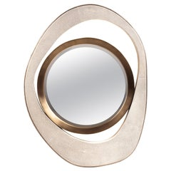 "Medium ""Peacock"" Mirror in Cream Shagreen & Bronze-Patina Brass by R&Y Augousti"