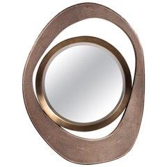"""Medium """"Peacock"""" Mirror in Mink Shagreen & Bronze-Patina Brass by R&Y Augousti"""
