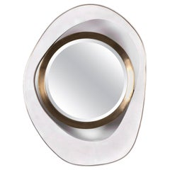 "Medium ""Peacock"" Mirror in White Shagreen & Bronze-Patina Brass by R&Y Augousti"