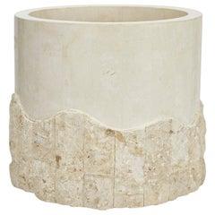 Medium Round Postmodern Tessellated Stone Rough and Smooth Planter, 1990s
