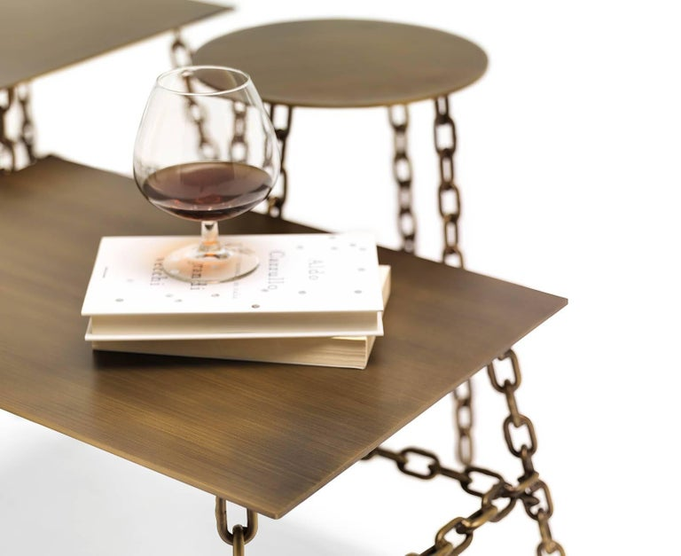 Modern Medium Sing Sing Square Table in Bronze Finish by Fabio Bortolani & Mogg For Sale