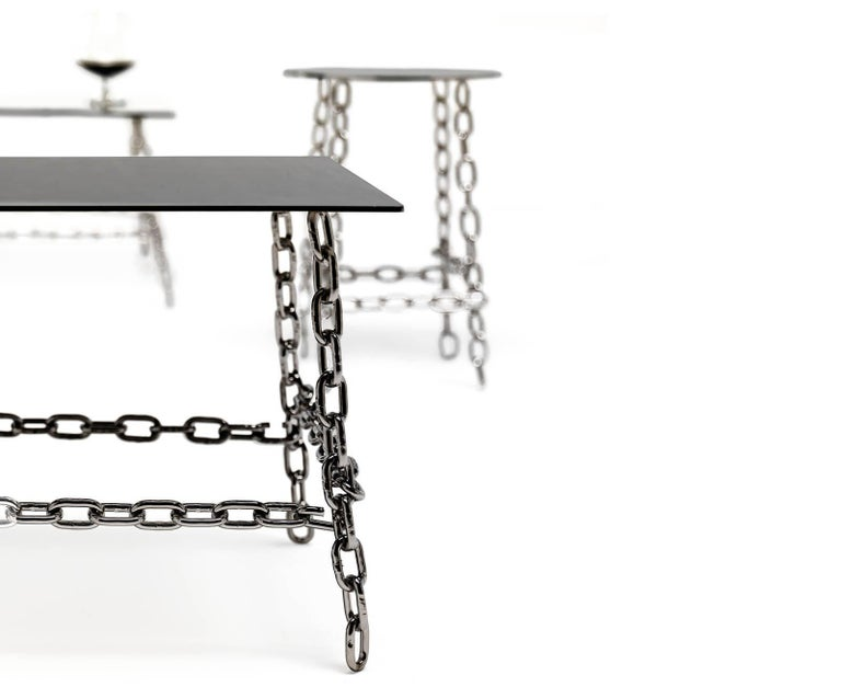 Italian Medium Sing Sing Square Table in Bronze Finish by Fabio Bortolani & Mogg For Sale