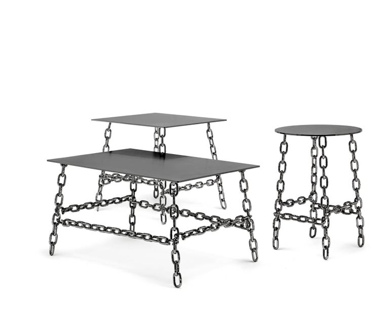 Medium Sing Sing Square Table in Bronze Finish by Fabio Bortolani & Mogg In New Condition For Sale In New York, NY