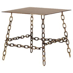 Medium Sing Sing Square Table in Bronze Finish by Fabio Bortolani & Mogg