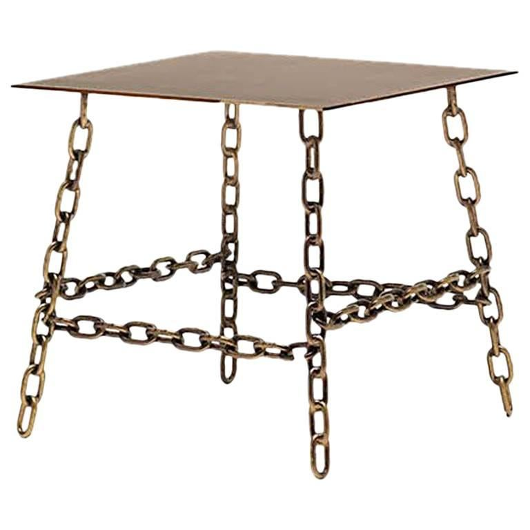Fluoro Coffee Table Square In Matt White With Black Metal: Medium Sing Sing Square Table In Bronze Finish By Fabio