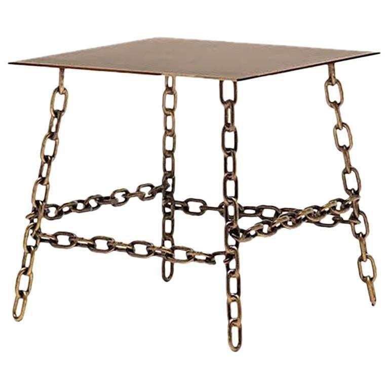 Medium Sing Sing Square Table in Bronze Finish by Fabio Bortolani & Mogg For Sale