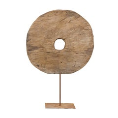 Medium Size 1920s French Wooden Wheel Mounted on Custom Metal Stand