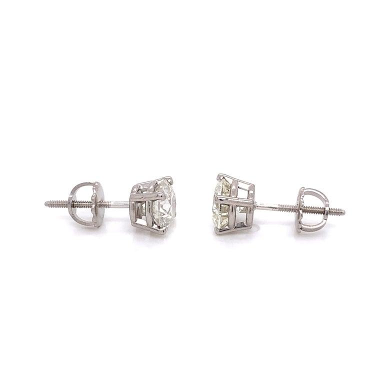 Brilliant Cut Medium Size Diamond Stud Earrings For Sale