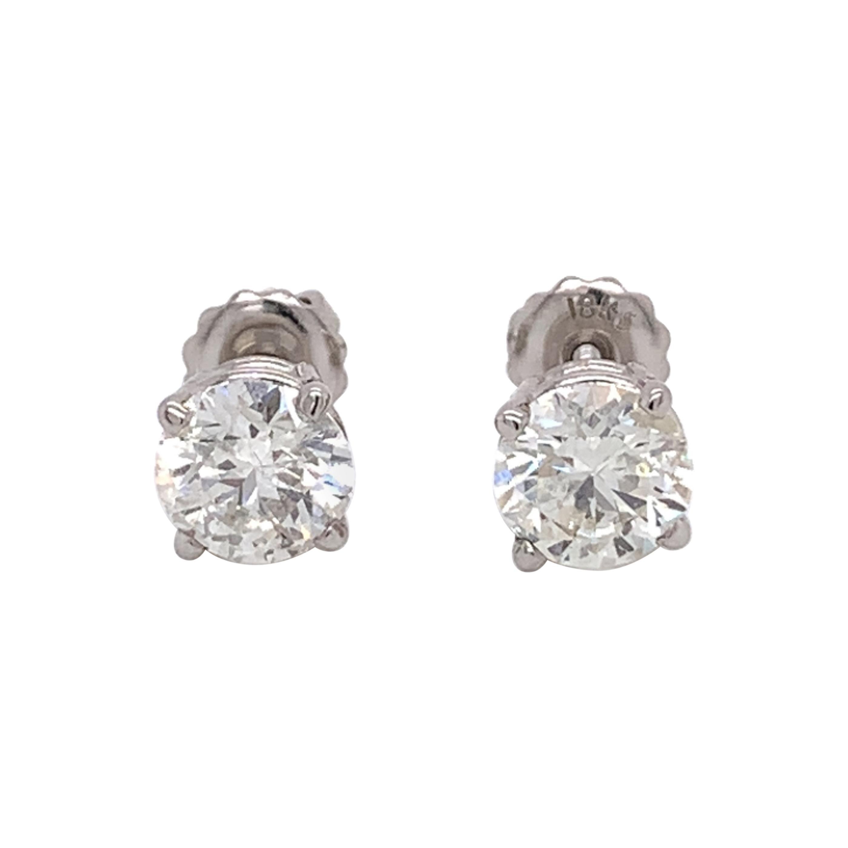 Medium Size Diamond Stud Earrings