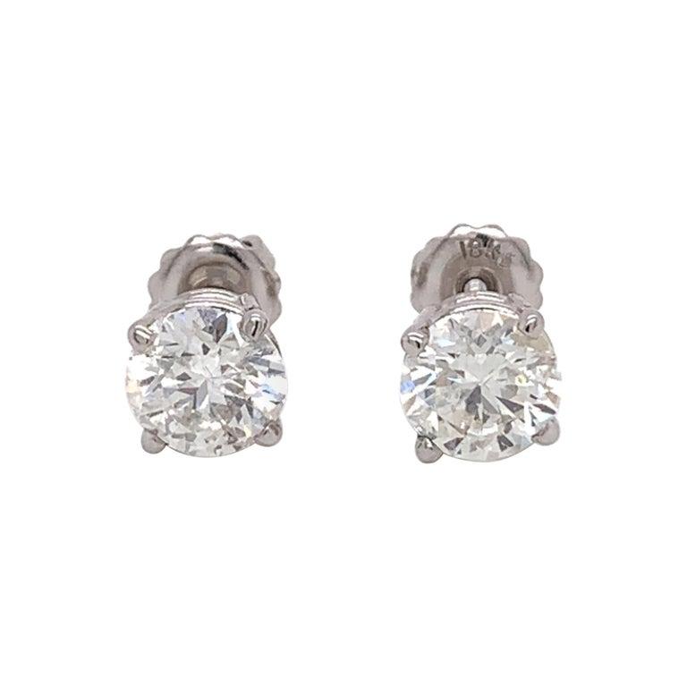 Medium Size Diamond Stud Earrings For Sale