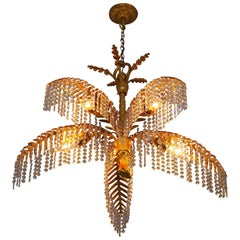 Medium Size Gilt Bronze Palm Tree Chandelier, by Bakalowits, circa 1970s