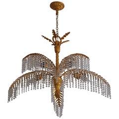 Lovely Gilt Bronze Palm Tree Chandelier by Hoffmann - Bakalowits, 1970s
