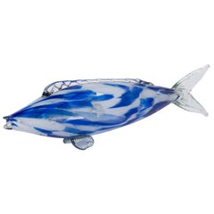 Medium Size Murano Bleu and White Glass Fish, Italy, circa 1970
