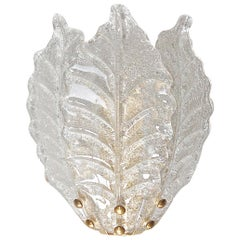 Medium Size Murano Glass Leaf Wall Sconce, 1980s, Italy