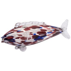 Medium Size Murano Red, Blue and White Glass Fish, Italy, circa 1970