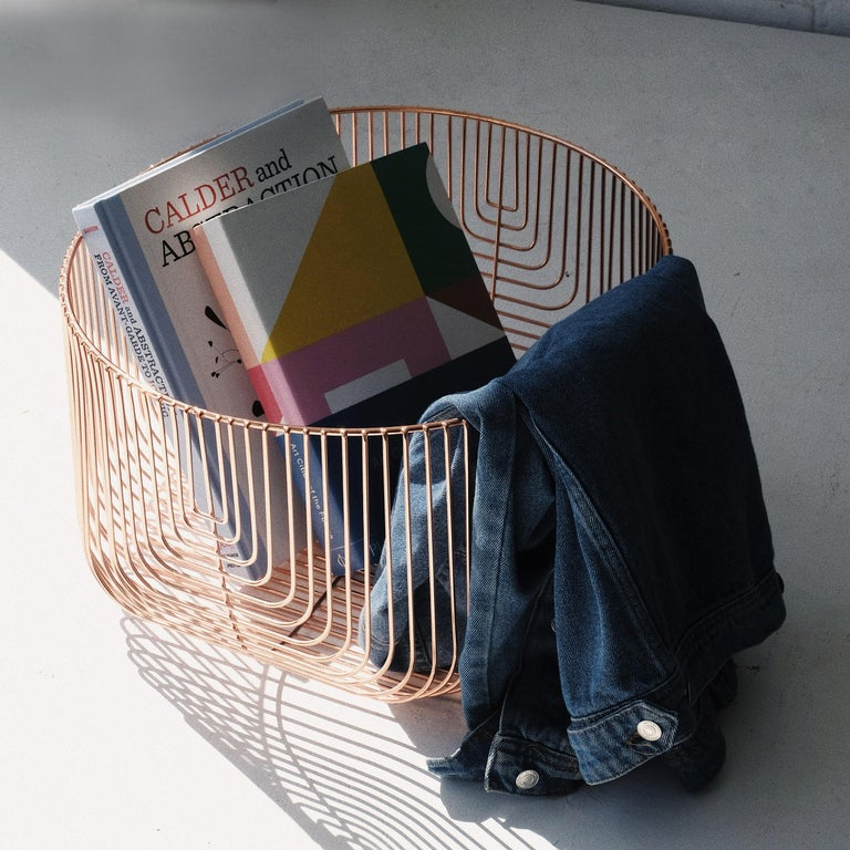 Plated Medium Sized Basket, Wire Basket Design by Bend Goods, Gold For Sale