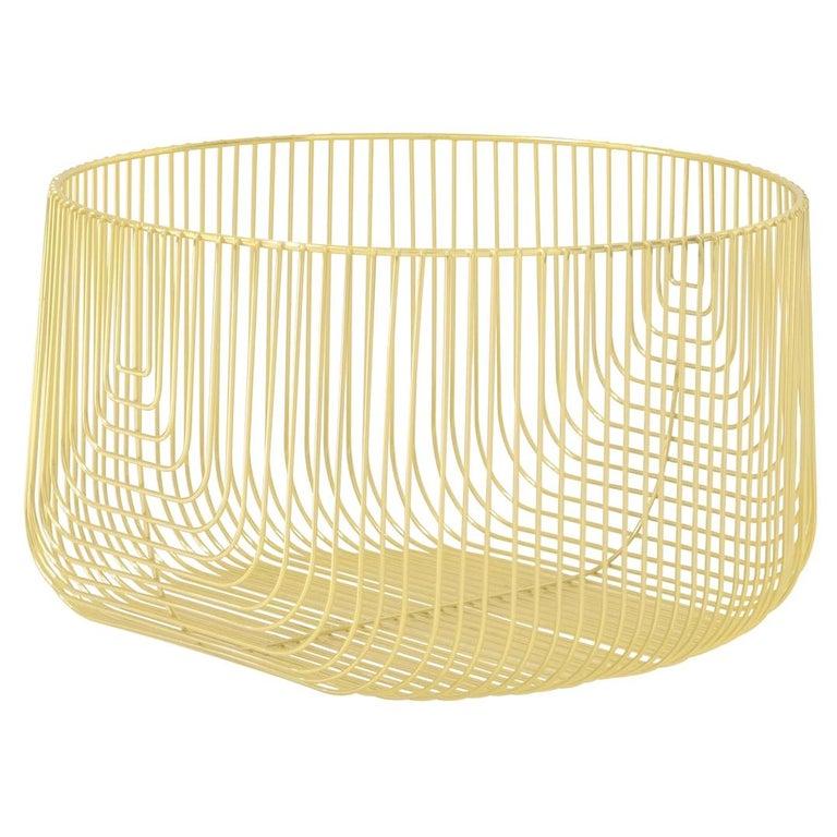 Medium Sized Basket, Wire Basket Design by Bend Goods, Gold For Sale