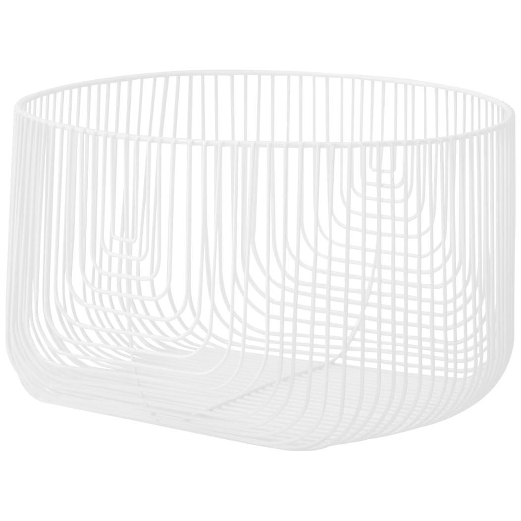 Medium Sized Basket, Wire Basket Design by Bend Goods, White
