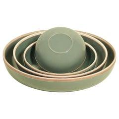 Medium Steel Grey Glazed Porcelain Hermit Bowl with Rustic Rim