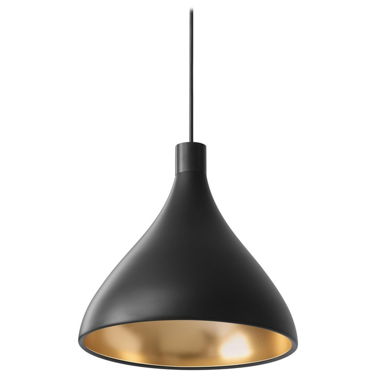 Medium Swell Pendant Light in Black and Brass by Pablo Designs For Sale