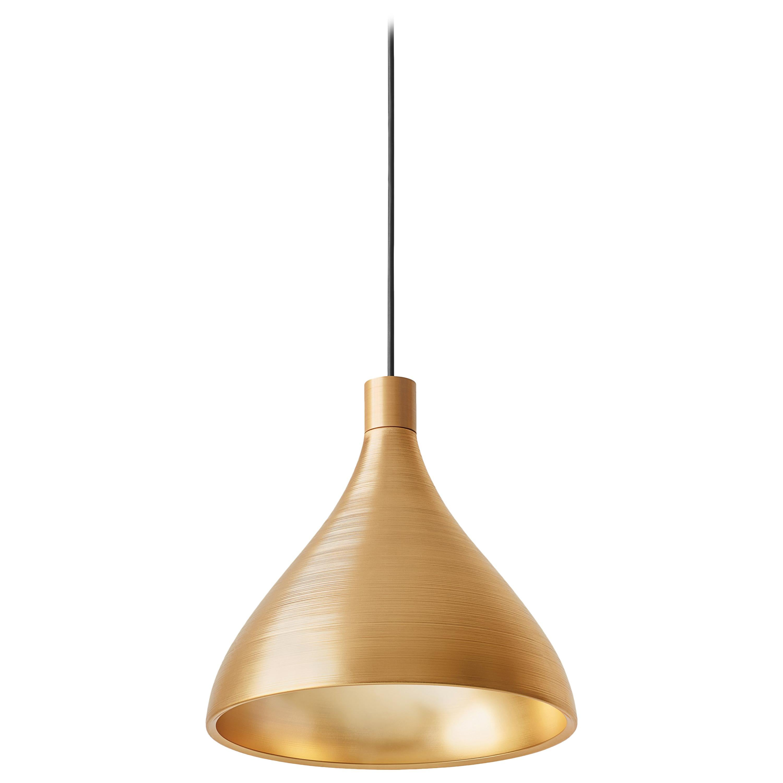 Medium Swell Pendant Light in Brass by Pablo Designs