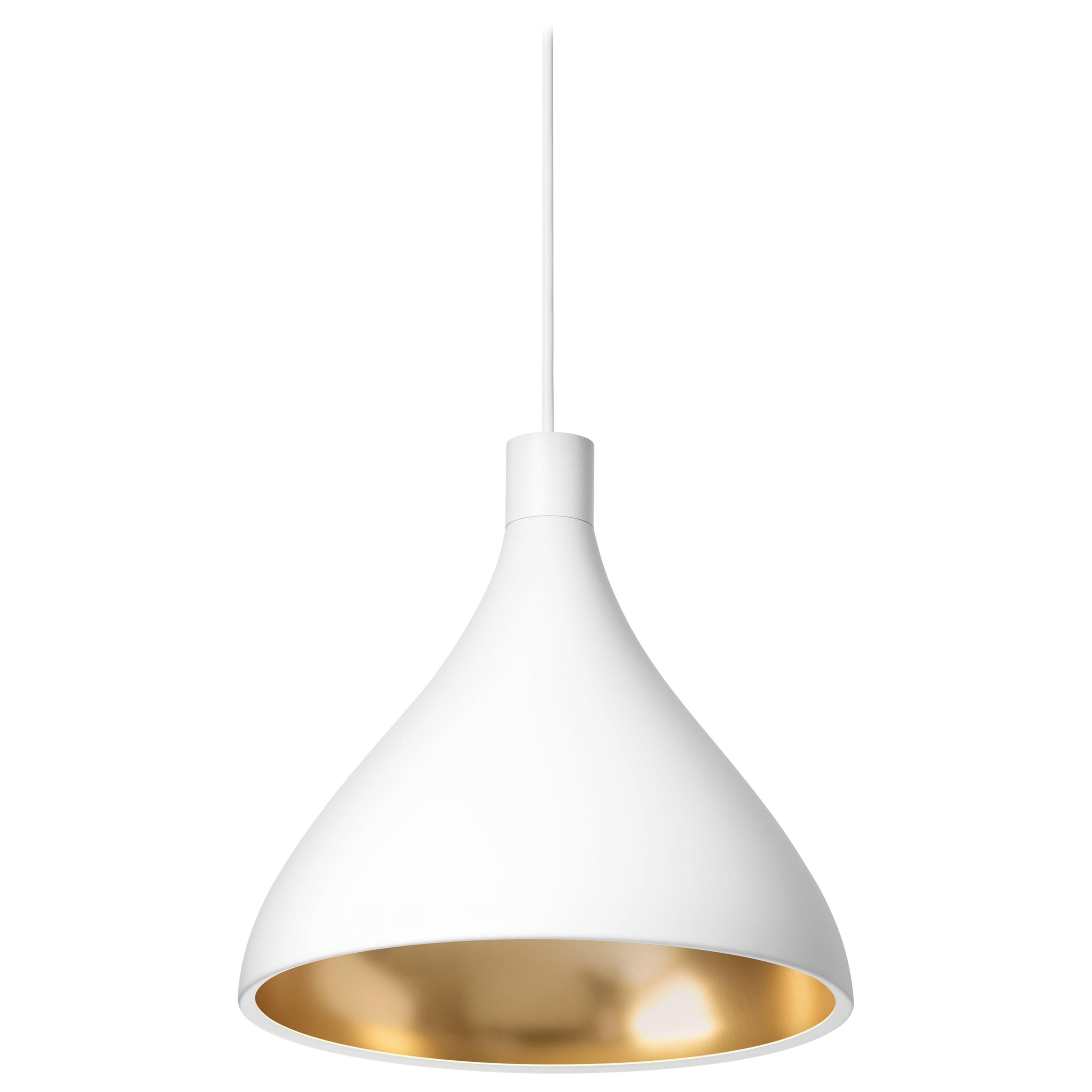 Medium Swell Pendant Light in White and Brass by Pablo Designs
