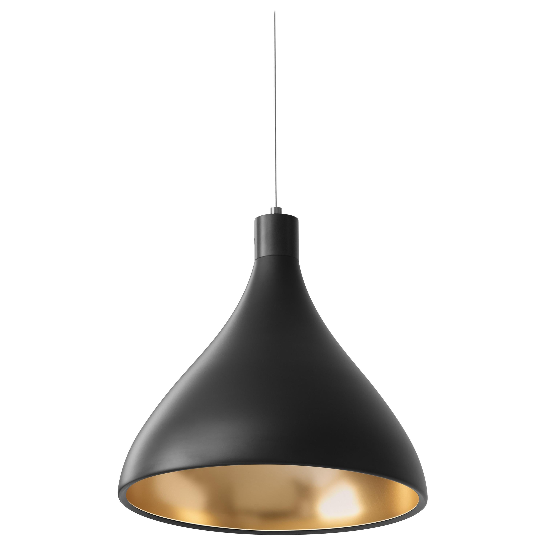 Medium Swell String Pendant Light in Black & Brass by Pablo Designs