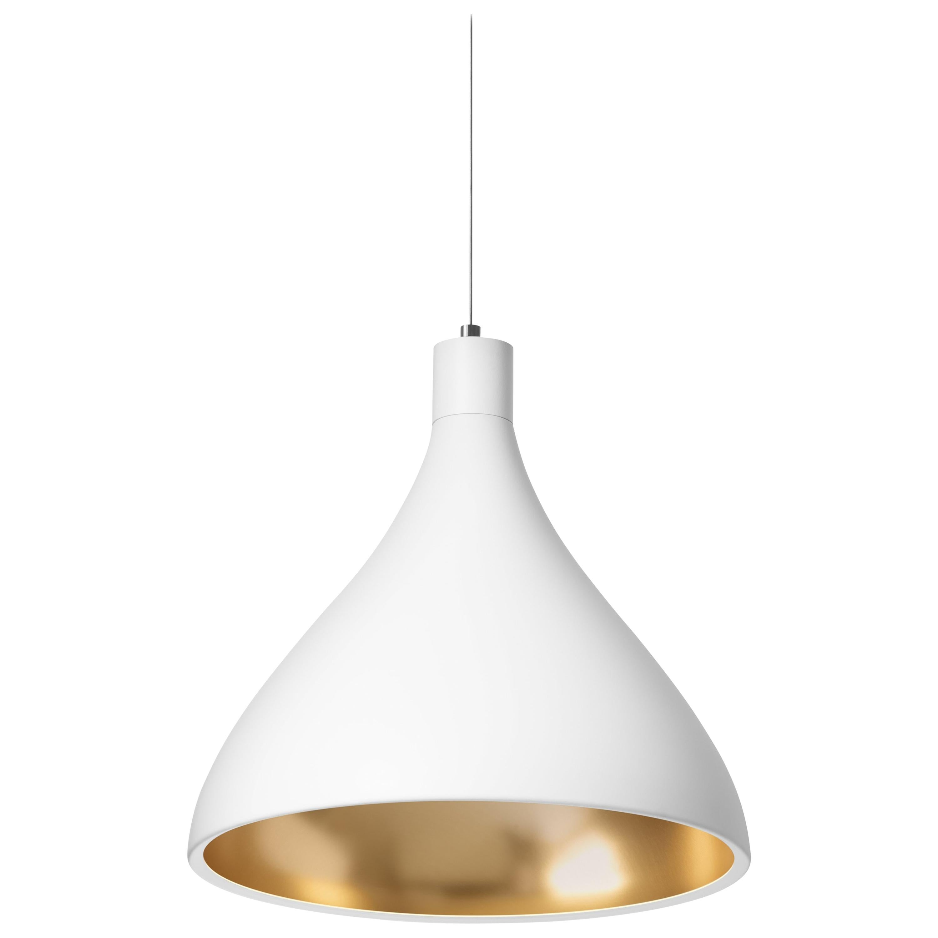 Medium Swell String Pendant Light in White and Brass by Pablo Designs