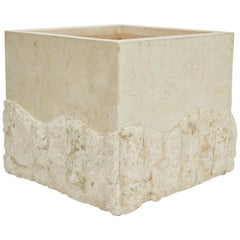 Medium Tessellated White Stone Square Rough and Smooth Planter, 1990s