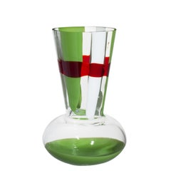 Medium Troncosfera Vase in Red, Green, and White by Carlo Moretti