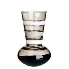 Medium Troncosfera Vase in White, Grey and Black by Carlo Moretti