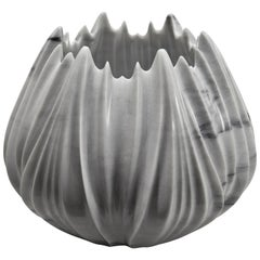 Marble Vase designed by Zaha Hadid in Polished Bianco Covelano Bluette Marble