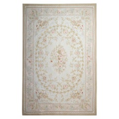 Medium Vintage Aubusson Style Area Rug Traditional Flat-Weave Rug